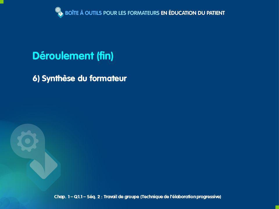 6) Synthèse du formateur Déroulement (fin) Chap. 1 – Q1.1 – Séq. 2 : Travail de groupe (Technique de lélaboration progressive)