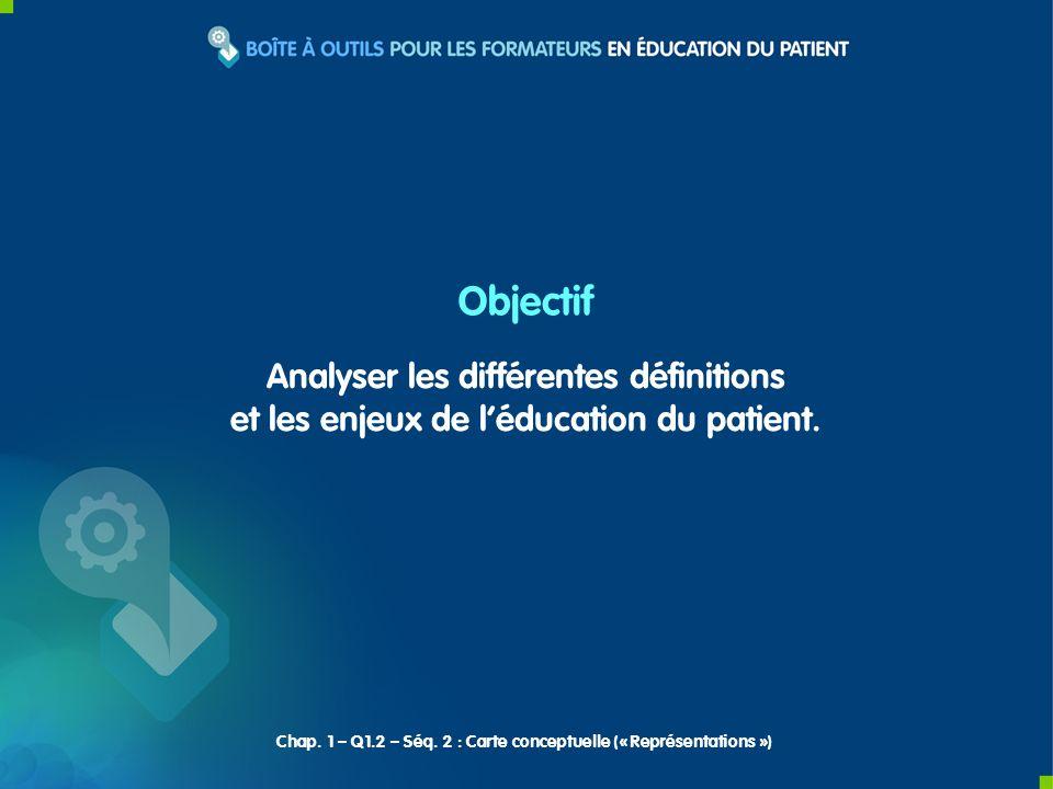 Analyser les différentes définitions et les enjeux de léducation du patient.