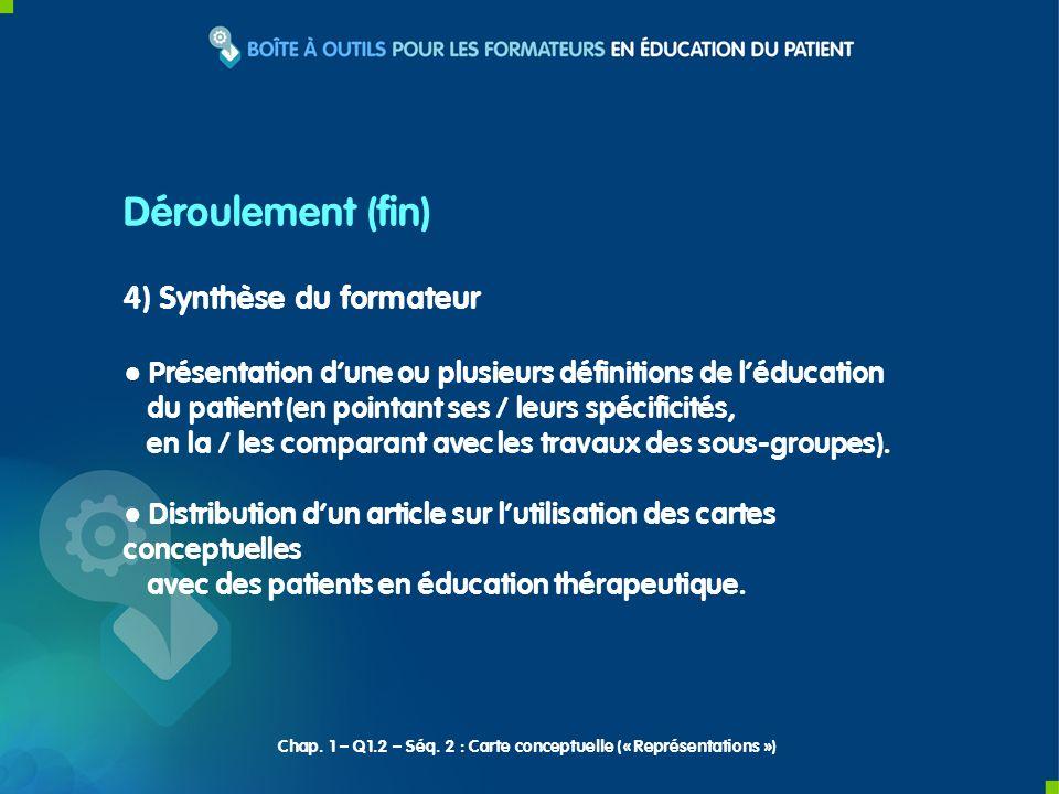 4) Synthèse du formateur Présentation dune ou plusieurs définitions de léducation du patient (en pointant ses / leurs spécificités, en la / les comparant avec les travaux des sous-groupes).