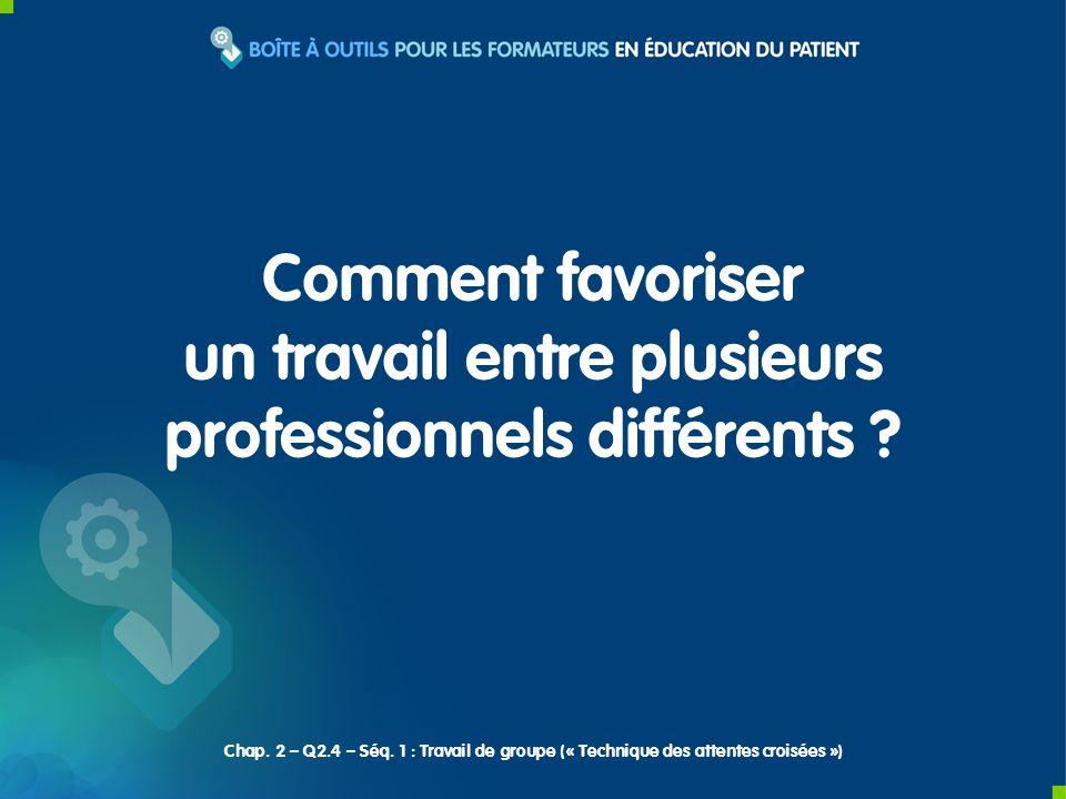Comment favoriser un travail entre plusieurs professionnels différents ? Chap. 2 – Q2.4 – Séq. 1 : Travail de groupe (« Technique des attentes croisée