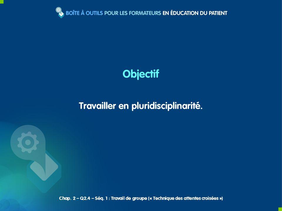 Travailler en pluridisciplinarité. Objectif Chap. 2 – Q2.4 – Séq. 1 : Travail de groupe (« Technique des attentes croisées »)