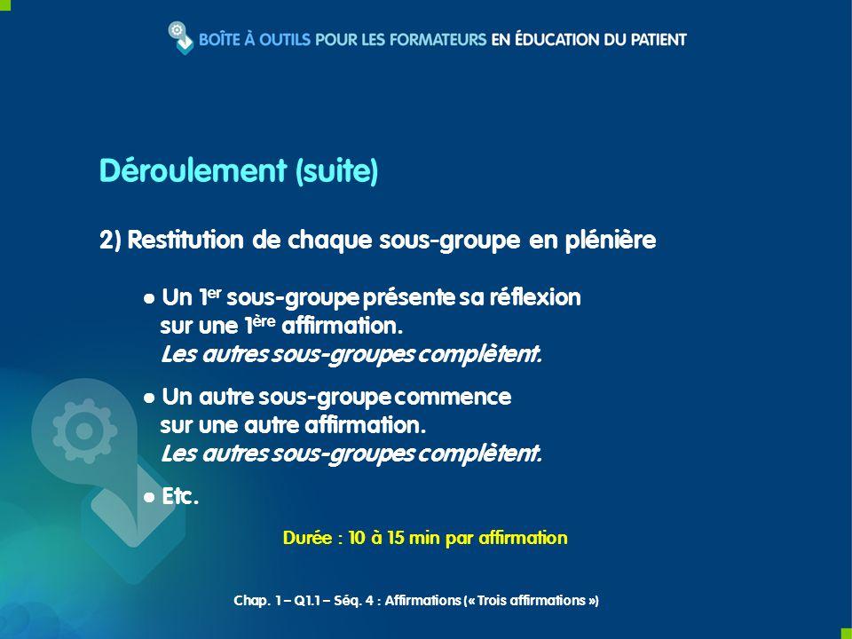2) Restitution de chaque sous-groupe en plénière Un 1 er sous-groupe présente sa réflexion sur une 1 ère affirmation.