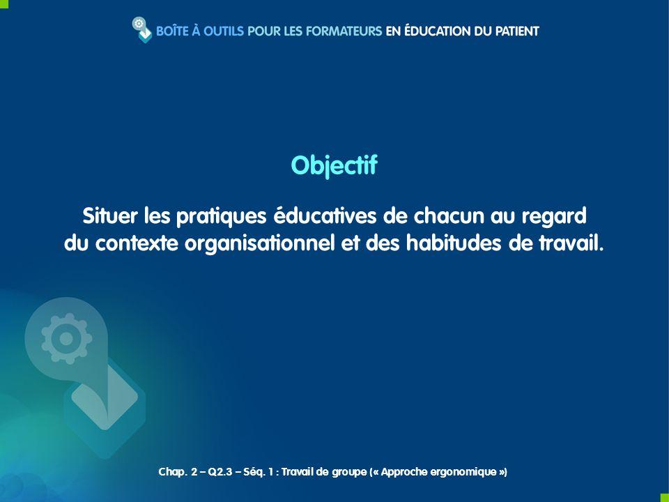 Situer les pratiques éducatives de chacun au regard du contexte organisationnel et des habitudes de travail.