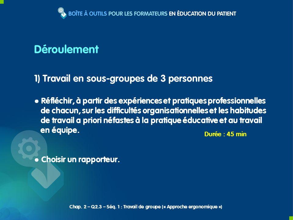 2) Restitution des rapporteurs Chap.2 – Q2.3 – Séq.