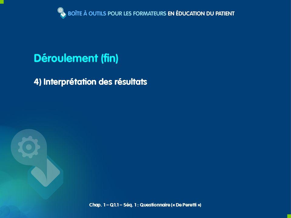 4) Interprétation des résultats Déroulement (fin) Chap.