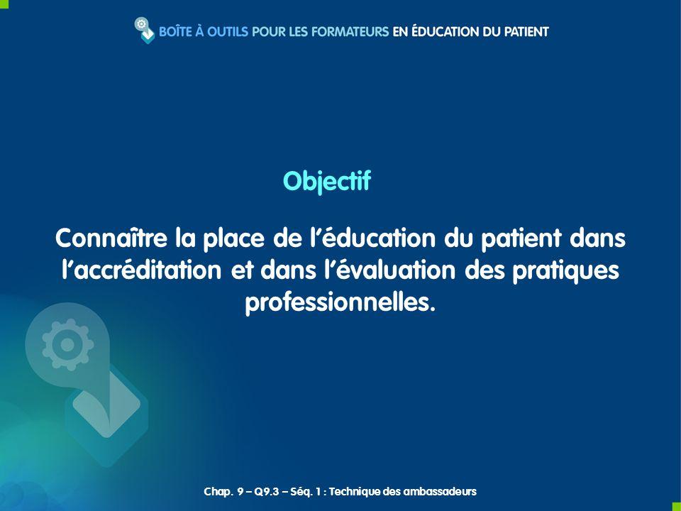 Connaître la place de léducation du patient dans laccréditation et dans lévaluation des pratiques professionnelles. Objectif Chap. 9 – Q9.3 – Séq. 1 :