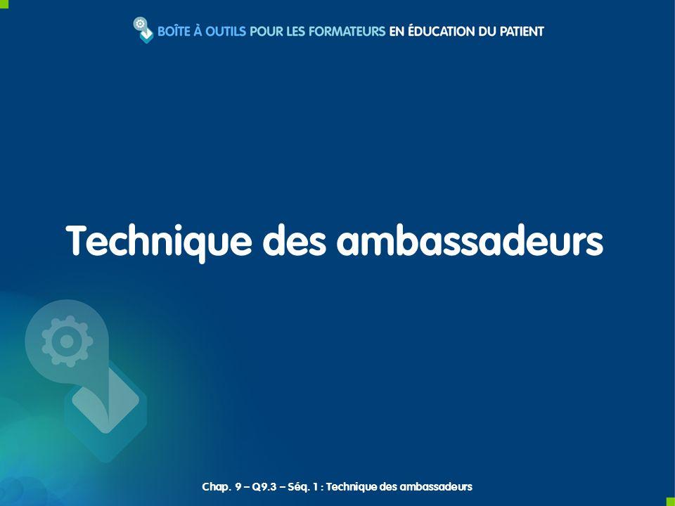 Technique des ambassadeurs Chap. 9 – Q9.3 – Séq. 1 : Technique des ambassadeurs