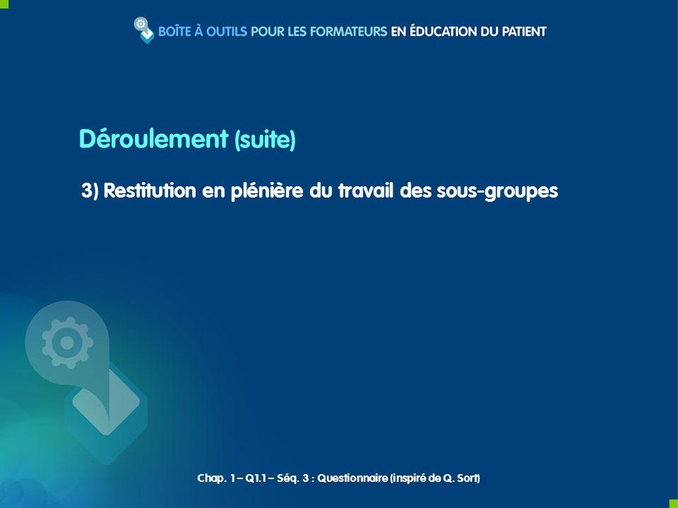 3) Restitution en plénière du travail des sous-groupes Déroulement (suite) Chap.