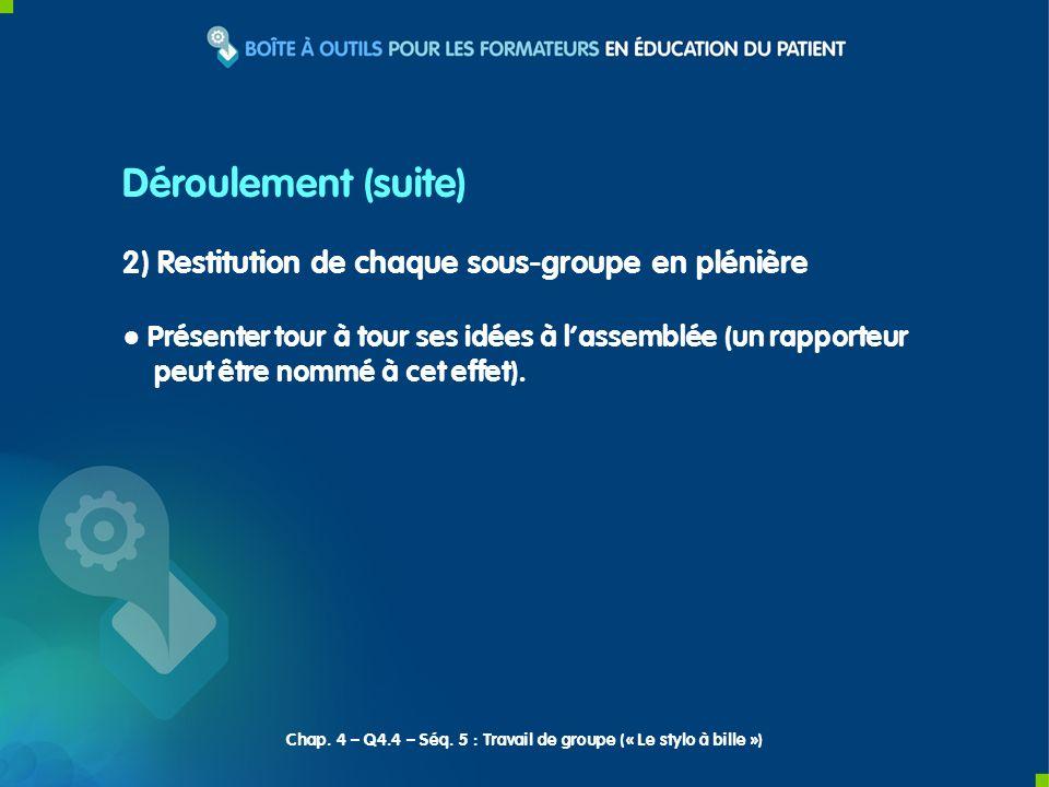 2) Restitution de chaque sous-groupe en plénière Présenter tour à tour ses idées à lassemblée (un rapporteur peut être nommé à cet effet). Déroulement