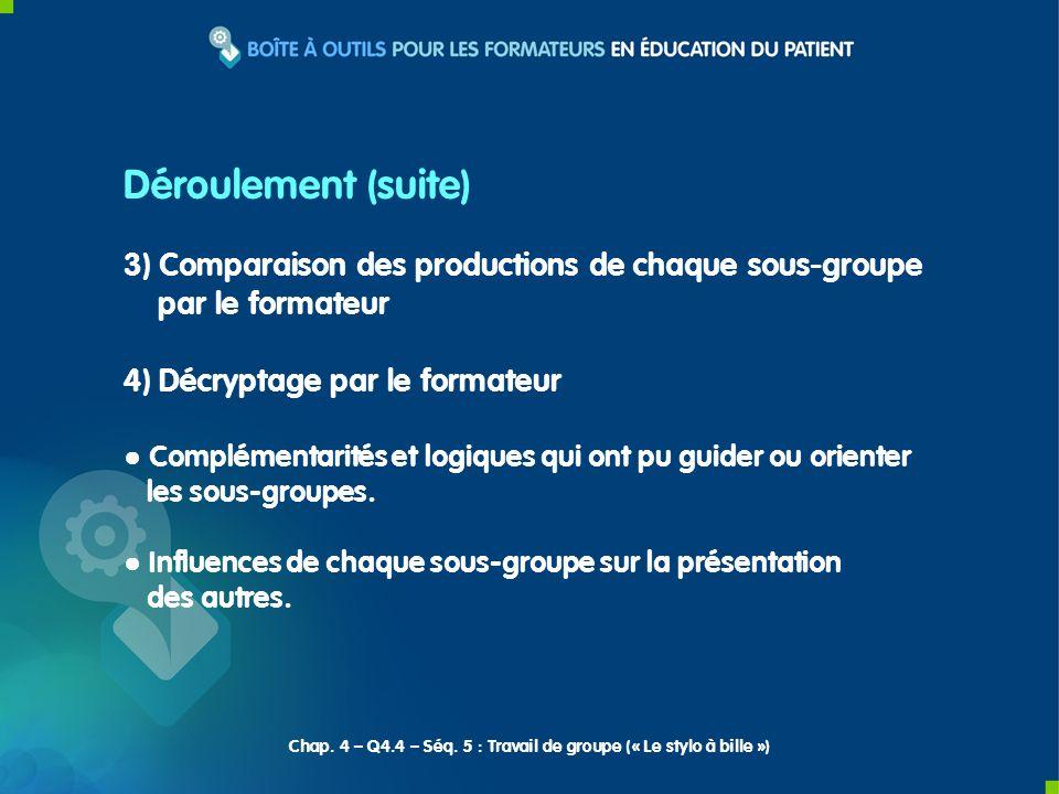 3) Comparaison des productions de chaque sous-groupe par le formateur 4) Décryptage par le formateur Complémentarités et logiques qui ont pu guider ou