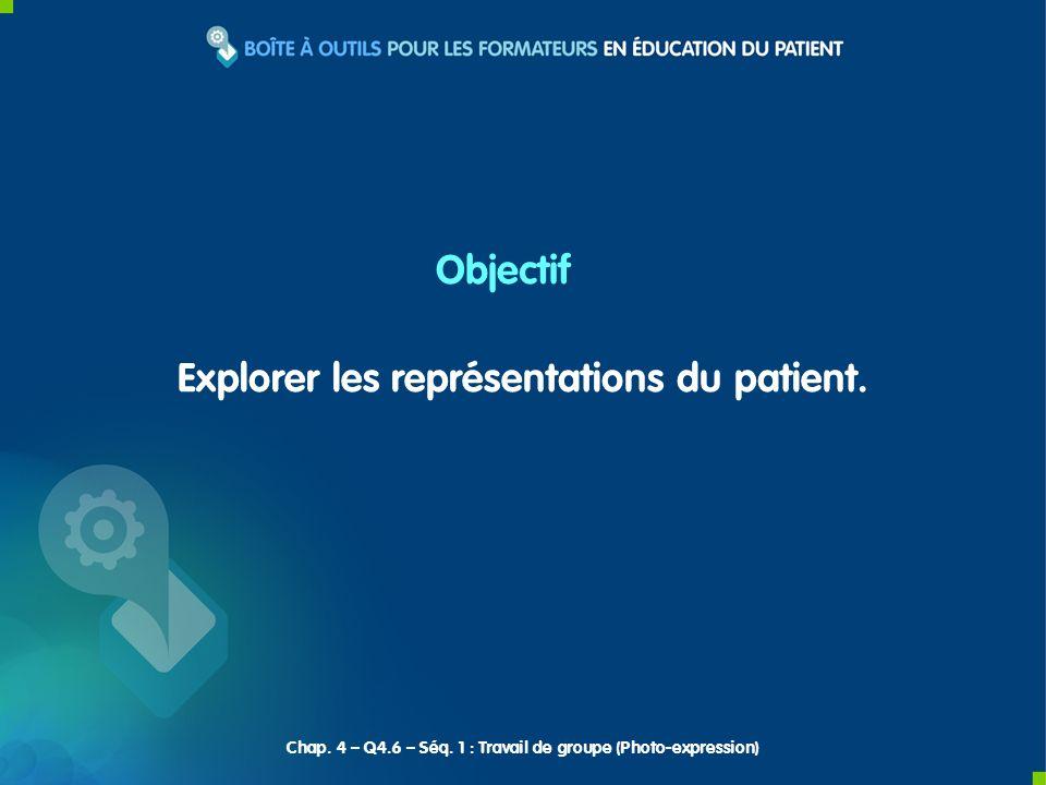 Explorer les représentations du patient. Objectif Chap. 4 – Q4.6 – Séq. 1 : Travail de groupe (Photo-expression)