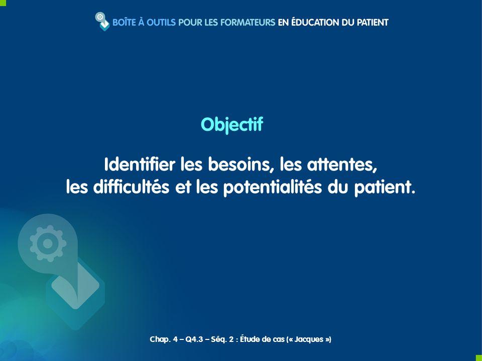 Identifier les besoins, les attentes, les difficultés et les potentialités du patient. Objectif Chap. 4 – Q4.3 – Séq. 2 : Étude de cas (« Jacques »)
