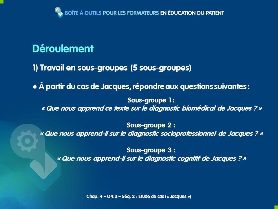 1) Travail en sous-groupes (5 sous-groupes) À partir du cas de Jacques, répondre aux questions suivantes : Sous-groupe 1 : « Que nous apprend ce texte
