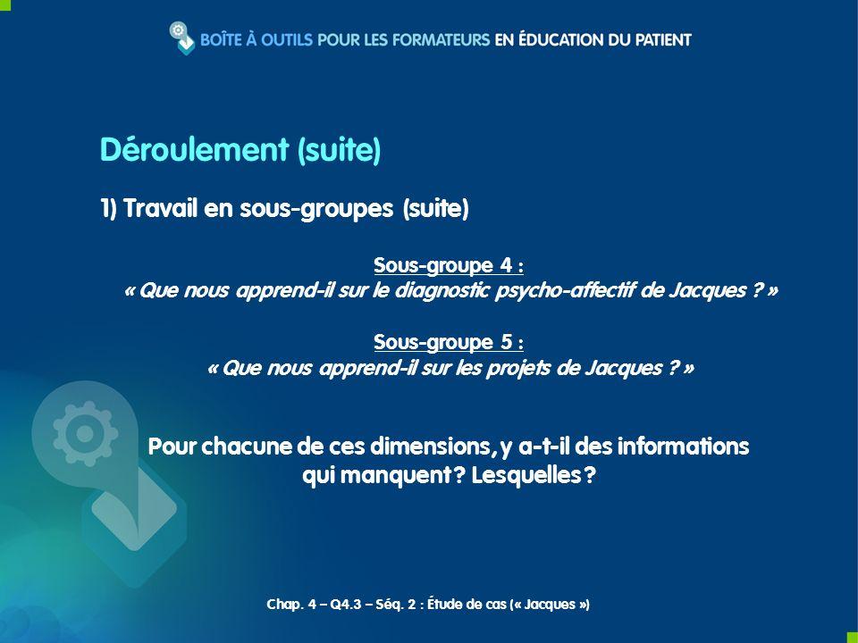 1) Travail en sous-groupes (suite) Sous-groupe 4 : « Que nous apprend-il sur le diagnostic psycho-affectif de Jacques ? » Sous-groupe 5 : « Que nous a