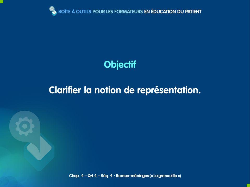 Clarifier la notion de représentation. Objectif Chap. 4 – Q4.4 – Séq. 4 : Remue-méninges (« La grenouille »)