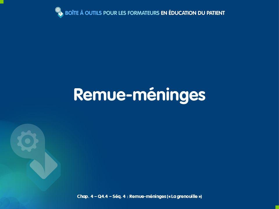 Remue-méninges Chap. 4 – Q4.4 – Séq. 4 : Remue-méninges (« La grenouille »)