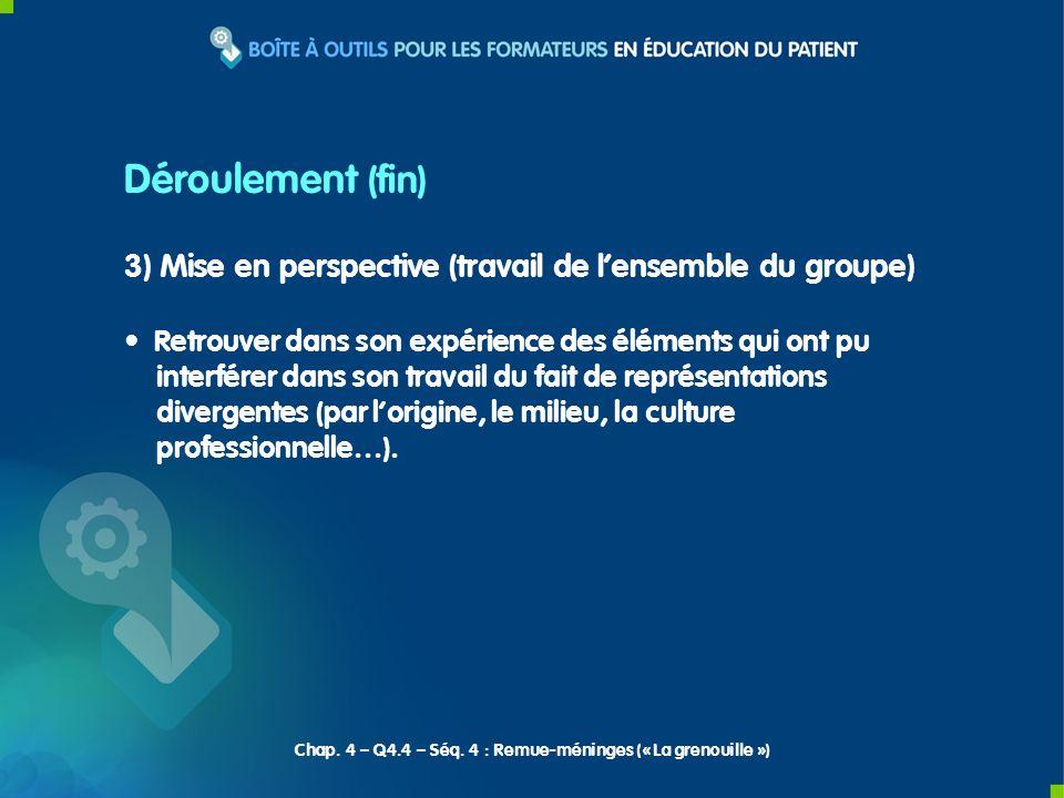 3) Mise en perspective (travail de lensemble du groupe) Retrouver dans son expérience des éléments qui ont pu interférer dans son travail du fait de r