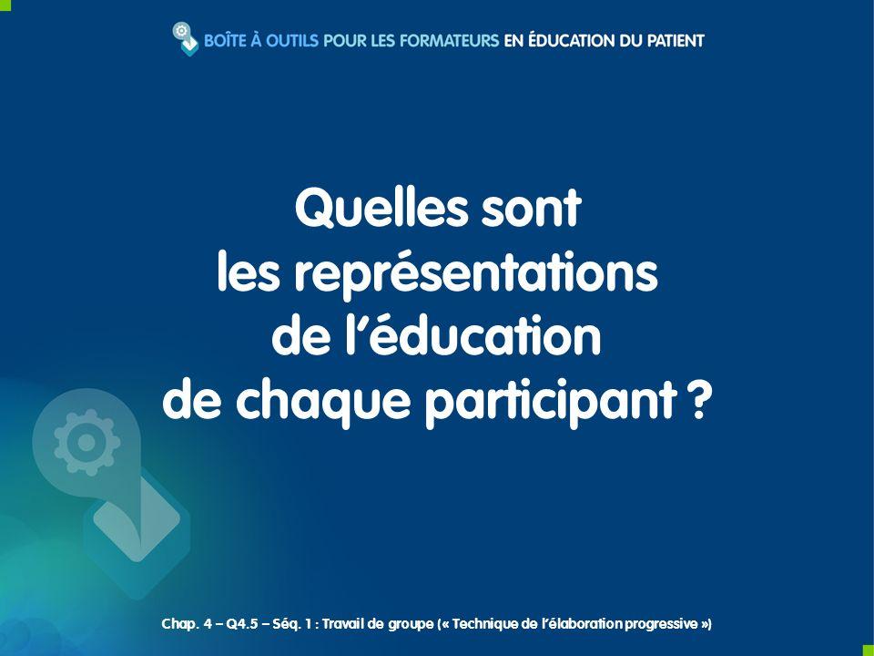 Quelles sont les représentations de léducation de chaque participant ? Chap. 4 – Q4.5 – Séq. 1 : Travail de groupe (« Technique de lélaboration progre