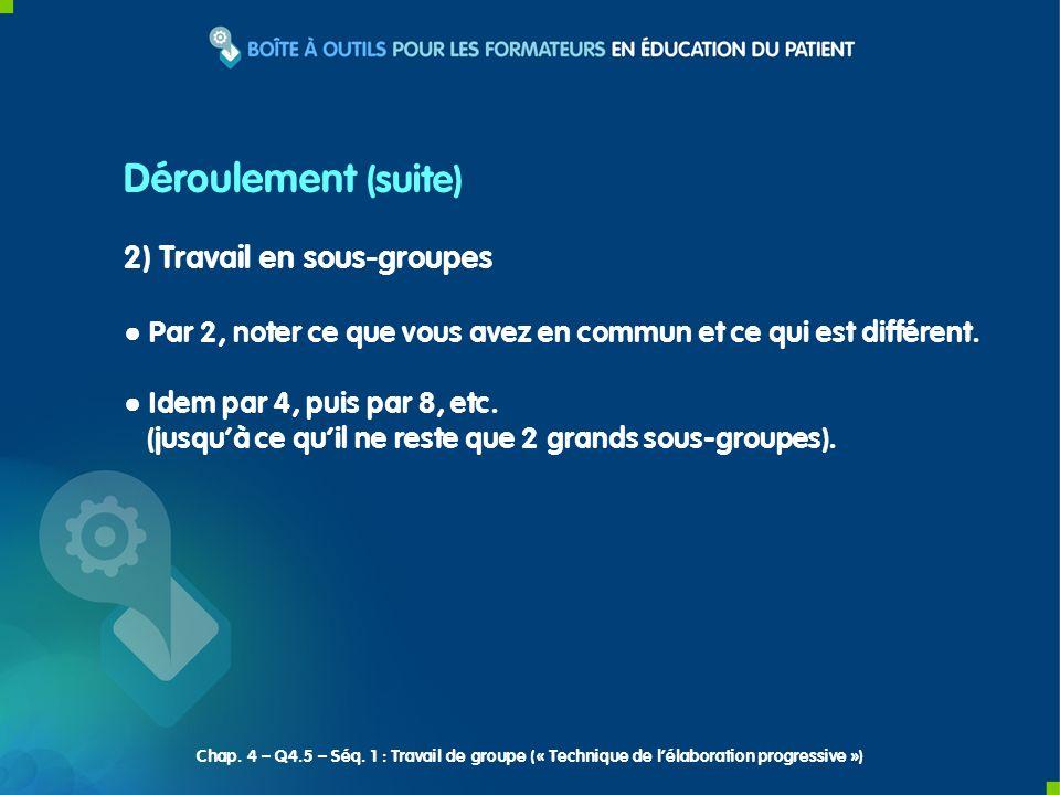 3) Restitution des 2 grands sous-groupes en plénière Choisir 1 rapporteur par sous-groupe.