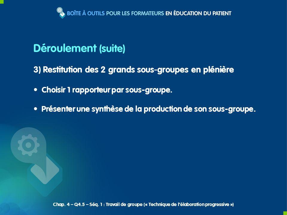 3) Restitution des 2 grands sous-groupes en plénière Choisir 1 rapporteur par sous-groupe. Présenter une synthèse de la production de son sous-groupe.