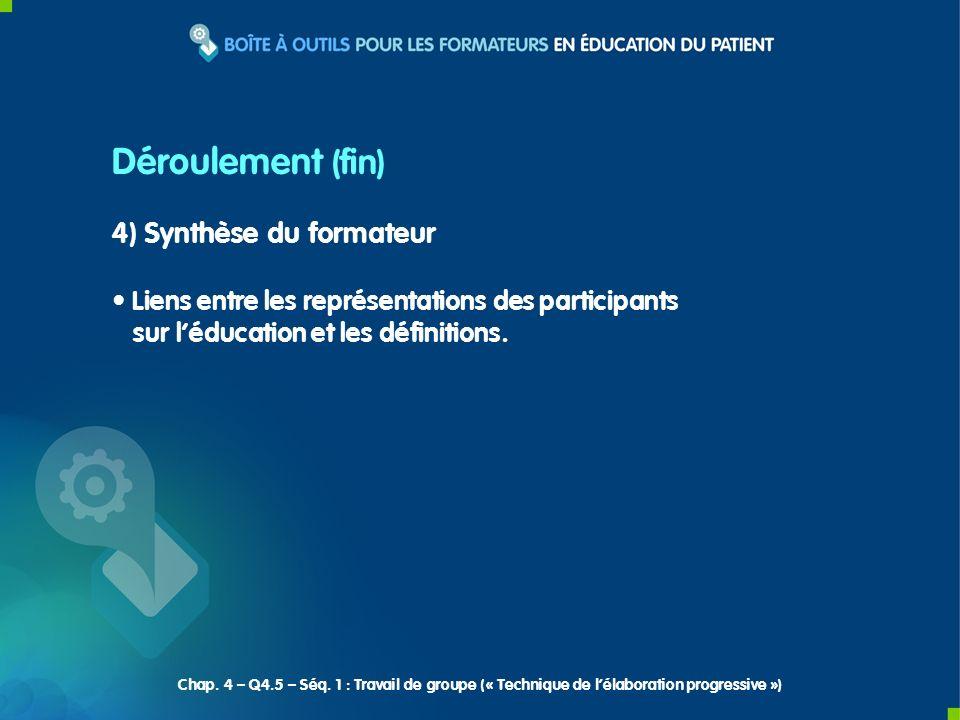 4) Synthèse du formateur Liens entre les représentations des participants sur léducation et les définitions. Déroulement (fin) Chap. 4 – Q4.5 – Séq. 1