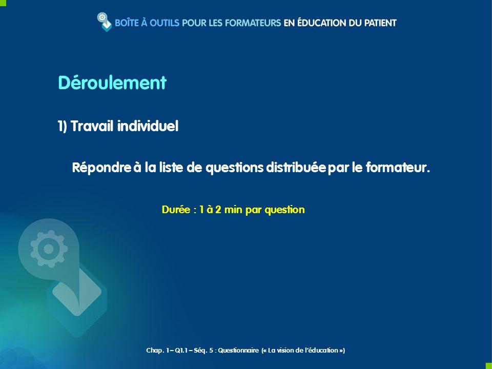 1) Travail individuel Répondre à la liste de questions distribuée par le formateur. Déroulement Durée : 1 à 2 min par question Chap. 1 – Q1.1 – Séq. 5