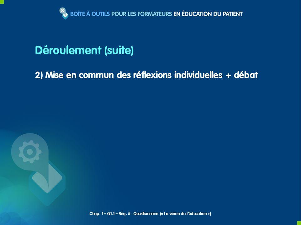 2) Mise en commun des réflexions individuelles + débat Déroulement (suite) Chap. 1 – Q1.1 – Séq. 5 : Questionnaire (« La vision de léducation »)
