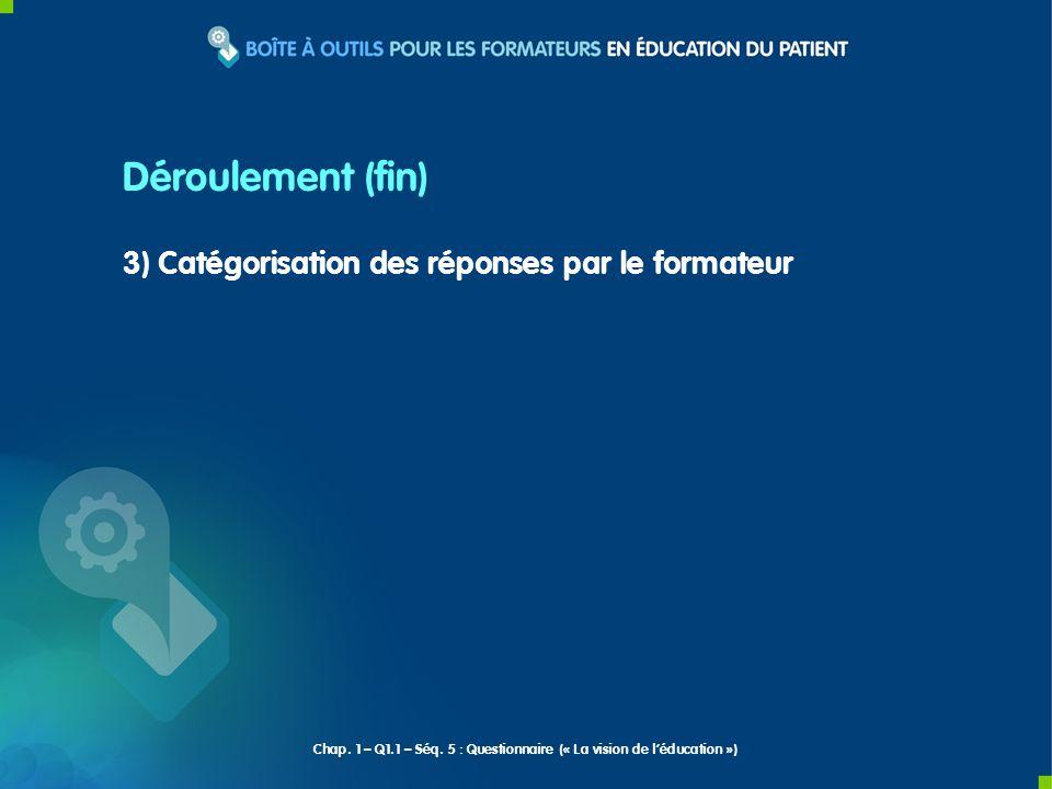 3) Catégorisation des réponses par le formateur Déroulement (fin) Chap. 1 – Q1.1 – Séq. 5 : Questionnaire (« La vision de léducation »)