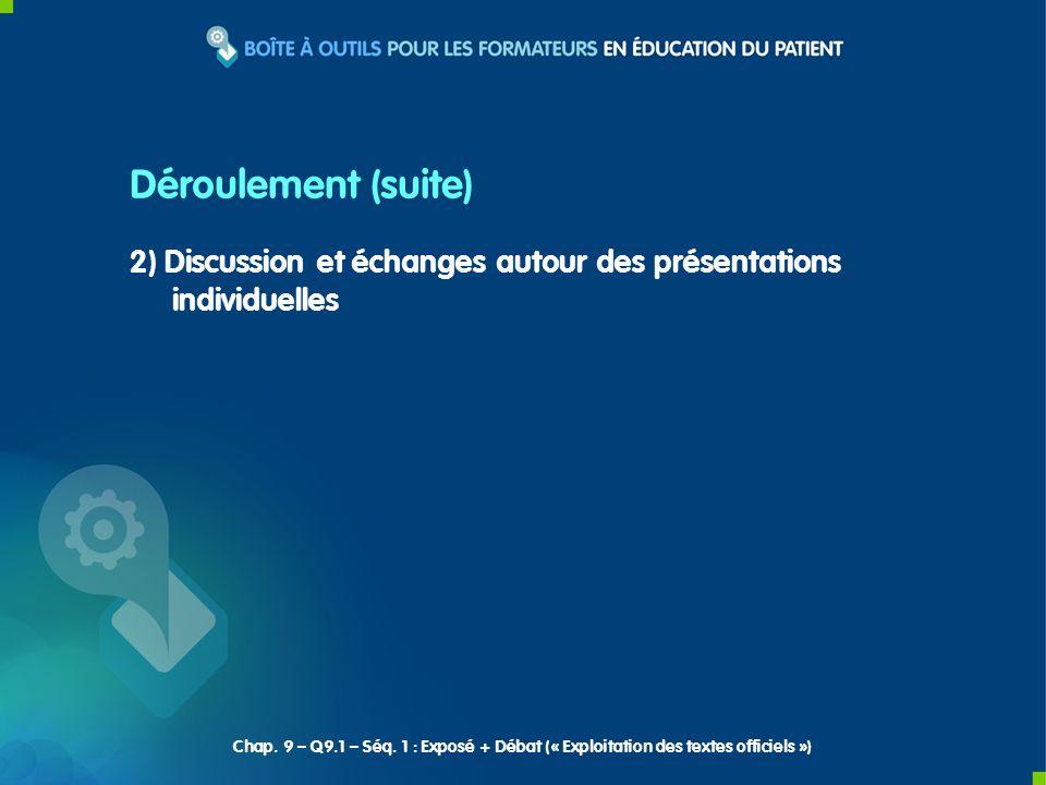 2) Discussion et échanges autour des présentations individuelles Déroulement (suite) Chap. 9 – Q9.1 – Séq. 1 : Exposé + Débat (« Exploitation des text
