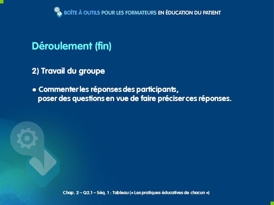 2) Travail du groupe Commenter les réponses des participants, poser des questions en vue de faire préciser ces réponses. Déroulement (fin) Chap. 2 – Q