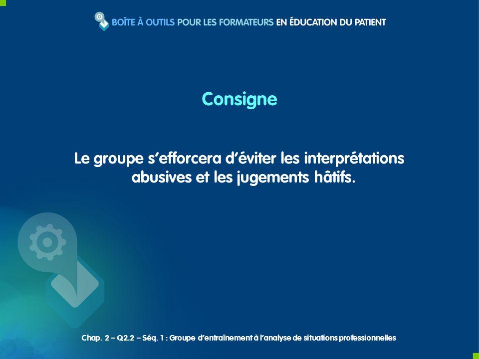 Consigne Le groupe sefforcera déviter les interprétations abusives et les jugements hâtifs.