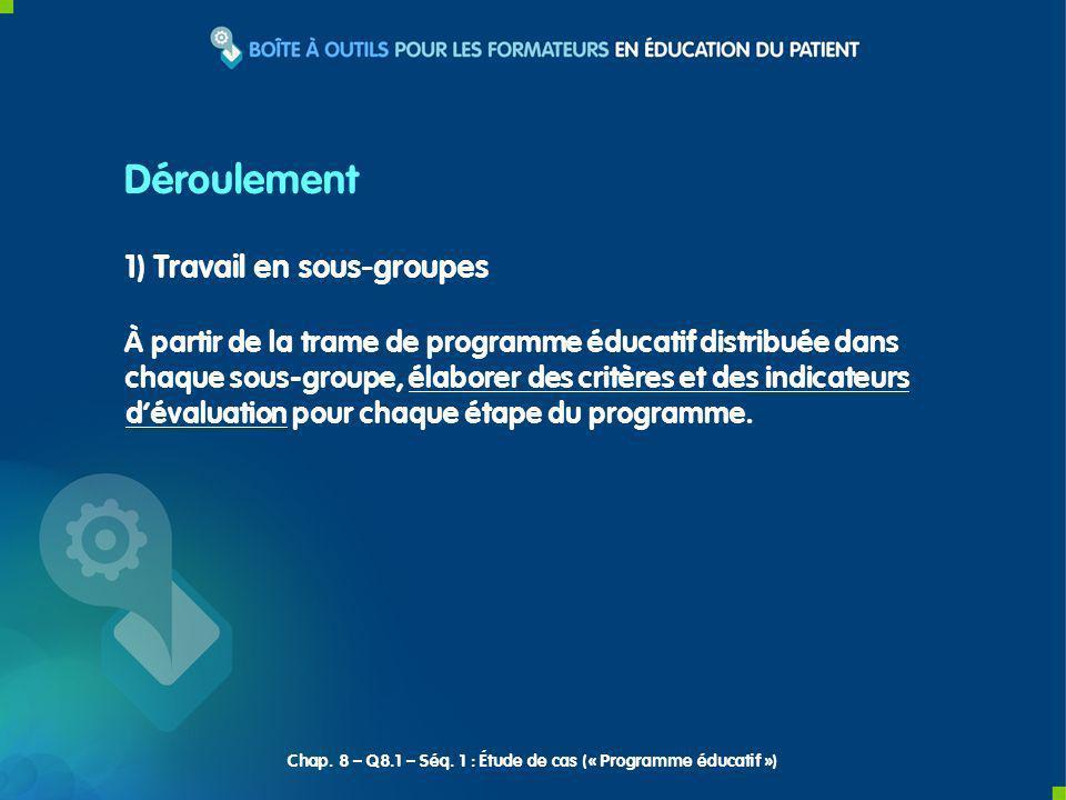 1) Travail en sous-groupes À partir de la trame de programme éducatif distribuée dans chaque sous-groupe, élaborer des critères et des indicateurs dév