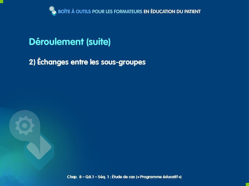 2) Échanges entre les sous-groupes Déroulement (suite) Chap. 8 – Q8.1 – Séq. 1 : Étude de cas (« Programme éducatif »)