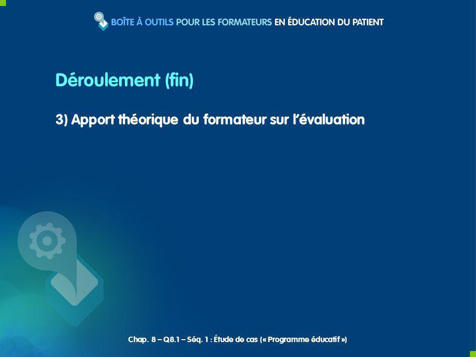 3) Apport théorique du formateur sur lévaluation Déroulement (fin) Chap. 8 – Q8.1 – Séq. 1 : Étude de cas (« Programme éducatif »)