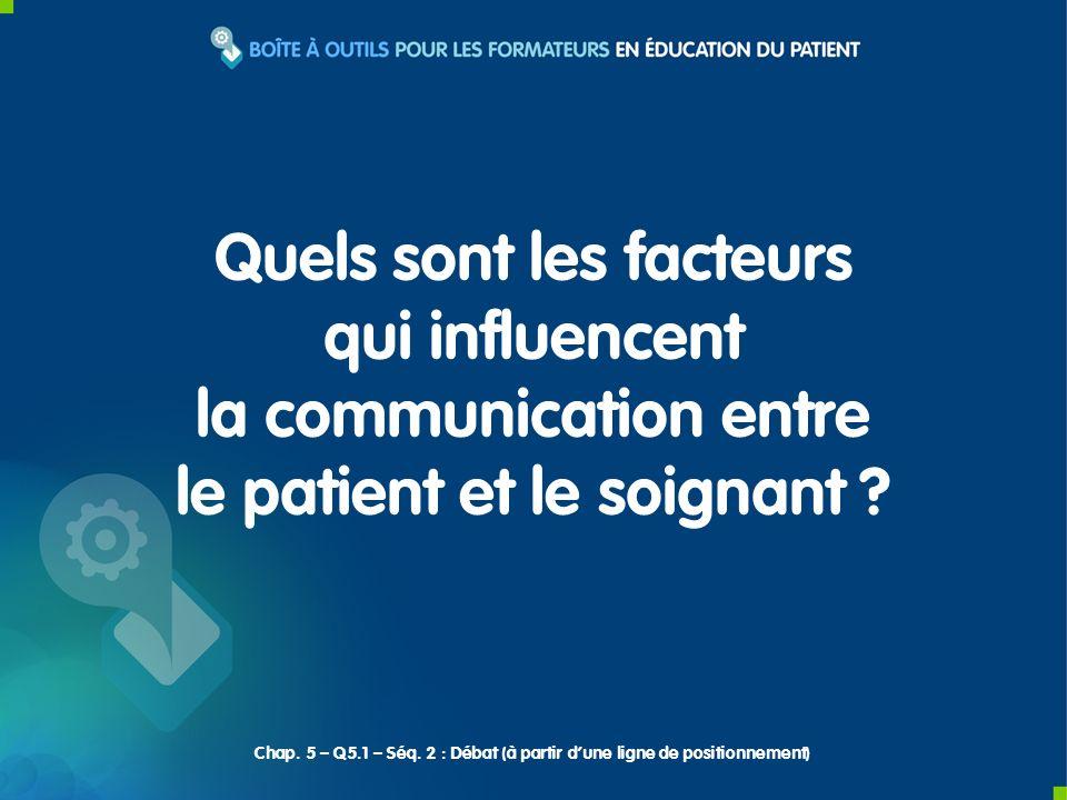 Objectif Identifier les facteurs influençant la communication entre le patient et le soignant.