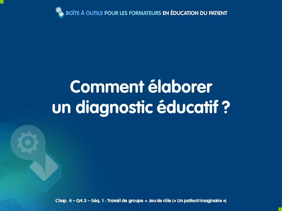 Comment élaborer un diagnostic éducatif .Chap. 4 – Q4.3 – Séq.