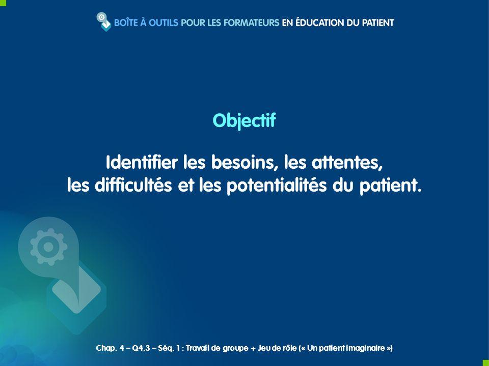 Objectif Identifier les besoins, les attentes, les difficultés et les potentialités du patient.
