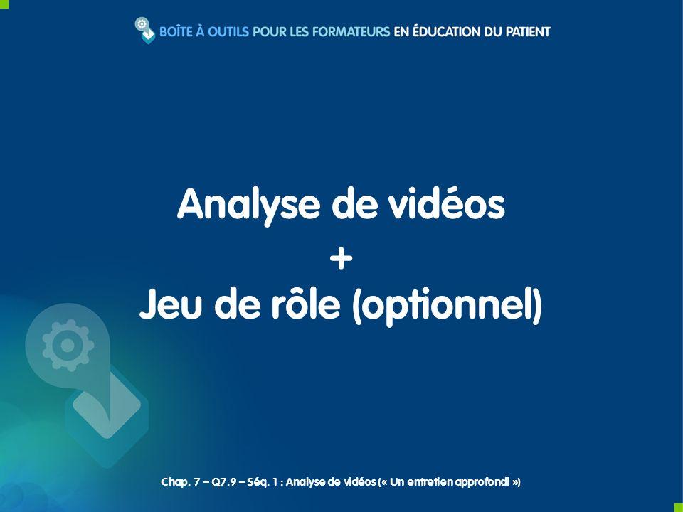 Analyse de vidéos + Jeu de rôle (optionnel) Chap. 7 – Q7.9 – Séq. 1 : Analyse de vidéos (« Un entretien approfondi »)
