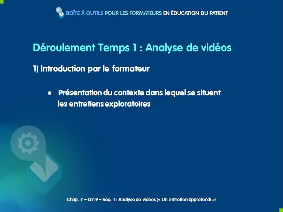 1) Introduction par le formateur Présentation du contexte dans lequel se situent les entretiens exploratoires Déroulement Temps 1 : Analyse de vidéos Chap.