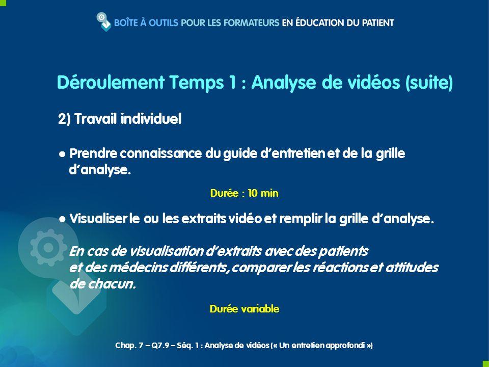 2) Travail individuel Prendre connaissance du guide dentretien et de la grille danalyse.