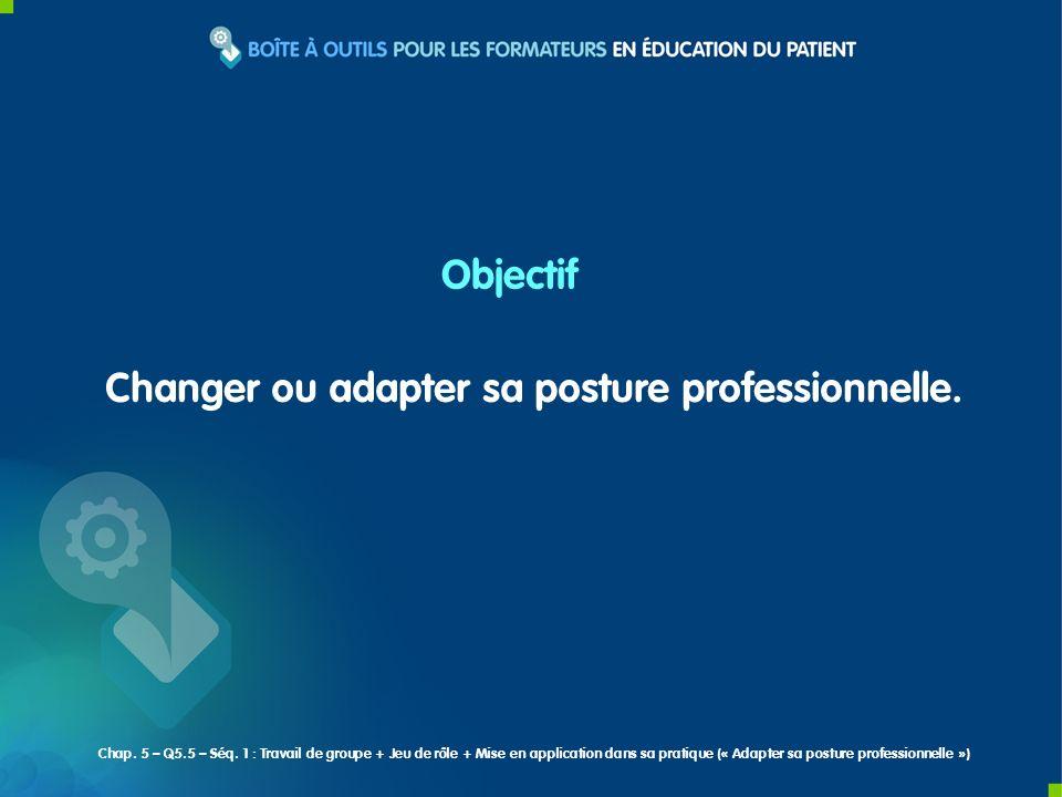 Changer ou adapter sa posture professionnelle. Objectif Chap. 5 – Q5.5 – Séq. 1 : Travail de groupe + Jeu de rôle + Mise en application dans sa pratiq