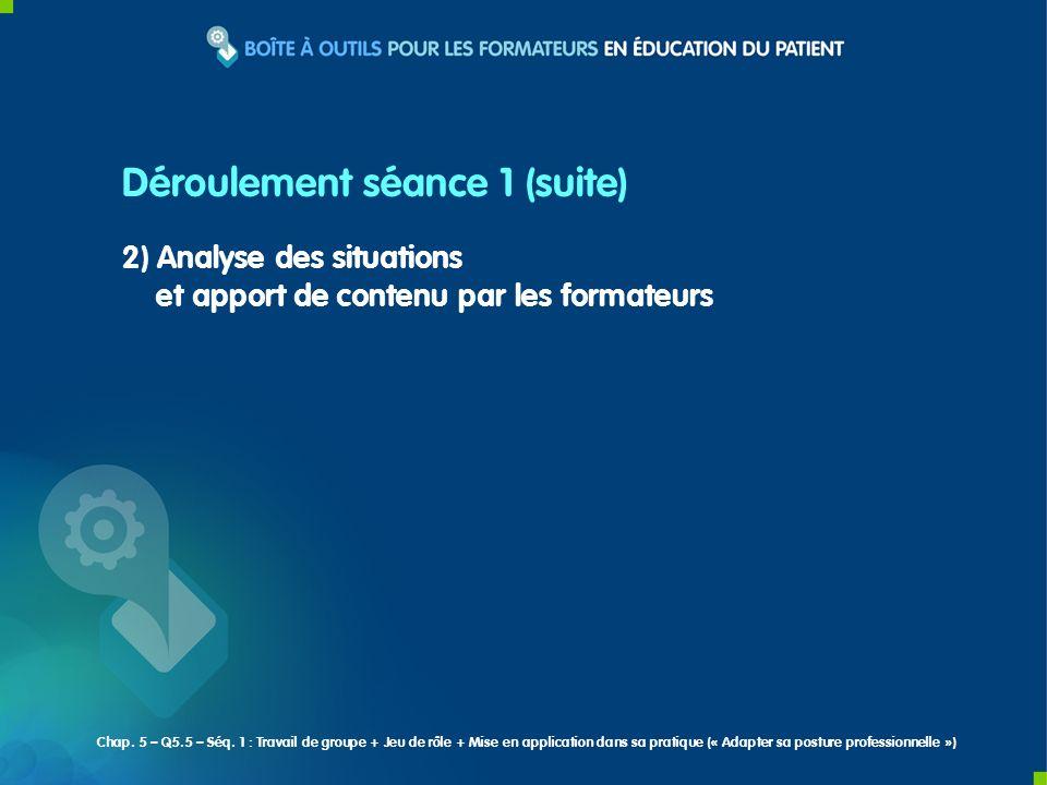2) Analyse des situations et apport de contenu par les formateurs Déroulement séance 1 (suite) Chap. 5 – Q5.5 – Séq. 1 : Travail de groupe + Jeu de rô