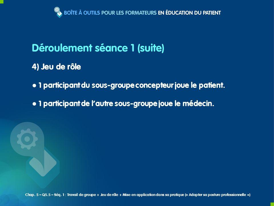 5) Travail individuel Déterminer pour chacun des 3 patients (réels) présentés un objectif de changement à négocier au cours de la prochaine consultation.