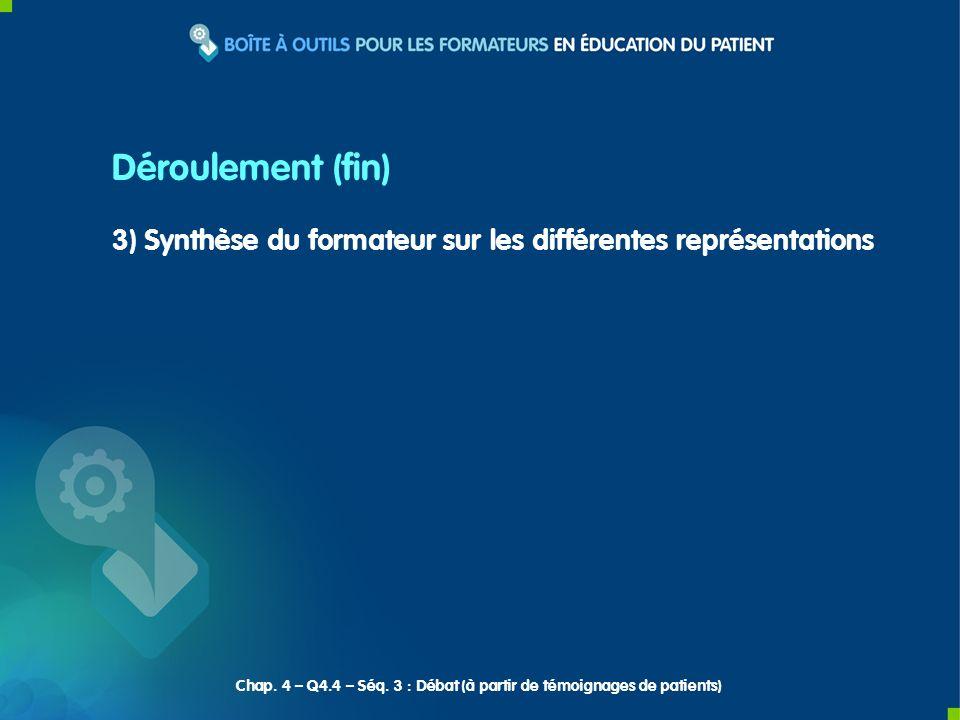 3) Synthèse du formateur sur les différentes représentations Déroulement (fin) Chap.