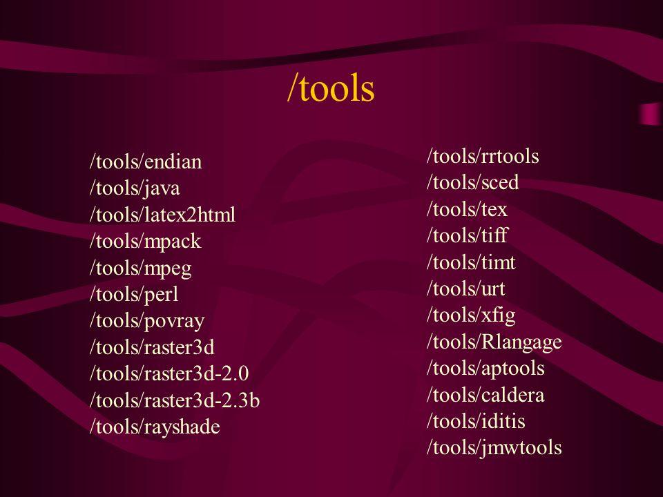 /tools /tools/endian /tools/java /tools/latex2html /tools/mpack /tools/mpeg /tools/perl /tools/povray /tools/raster3d /tools/raster3d-2.0 /tools/raster3d-2.3b /tools/rayshade /tools/rrtools /tools/sced /tools/tex /tools/tiff /tools/timt /tools/urt /tools/xfig /tools/Rlangage /tools/aptools /tools/caldera /tools/iditis /tools/jmwtools