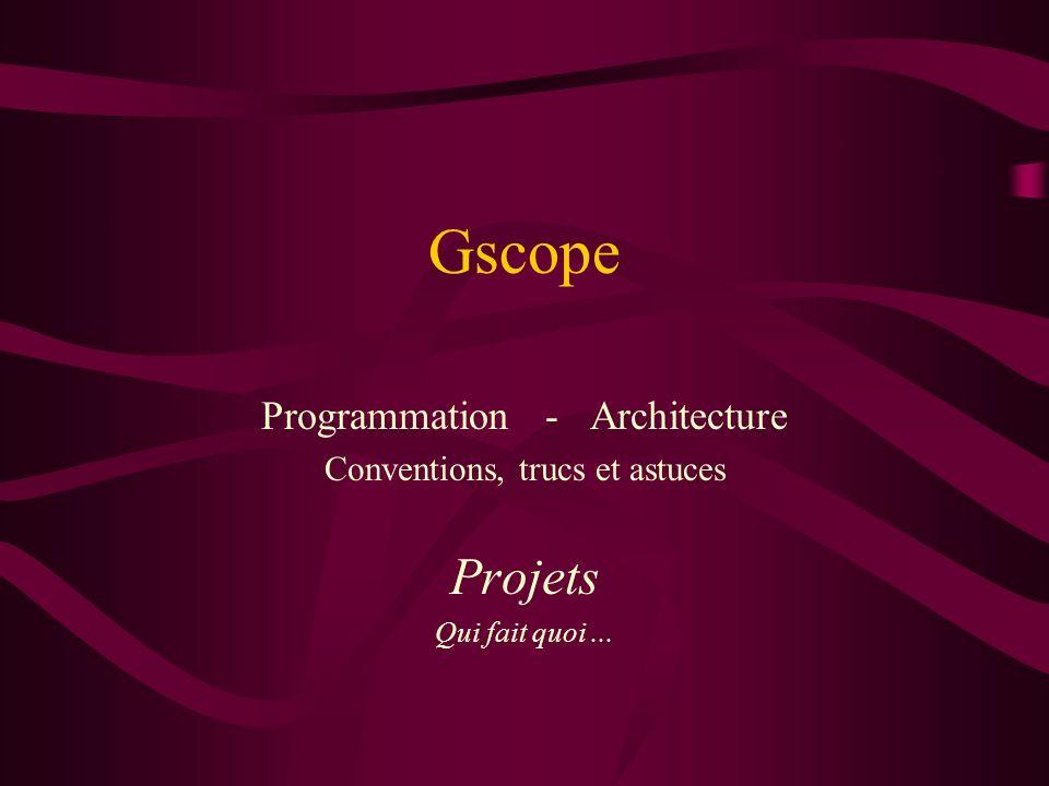 Gscope gestionnaire de base de données On peut tout lui demander –set DE [Definition PABY1952] –gscope puts Definition PABY1952 –qds Pabyssy Definition PABY1952 –http://saiph/gscope_server?FileMoi&Definition&PABY1952 –en tcl, par shell script, en tcl, par socket, par web –il est facile de lire ou décrire du Excell, Access … Il peut varier ses sources –ContenuDuFichier /genomics/Pabyssi/nuctfa/PABY1952 peut se transformer en une requête SQL –Sauve $Res dans/genomics/Pabyssi/fiches/res.txt aussi Parce que nous pouvons programmer les interfaces Ce qui compte ce sont les données des bases Gscope