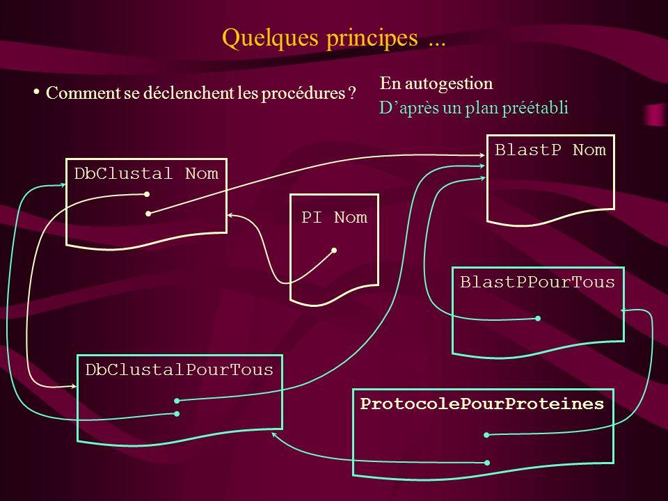 Quelques principes... PI Nom DbClustal Nom DbClustalPourTous Comment se déclenchent les procédures ? BlastP Nom ProtocolePourProteines BlastPPourTous
