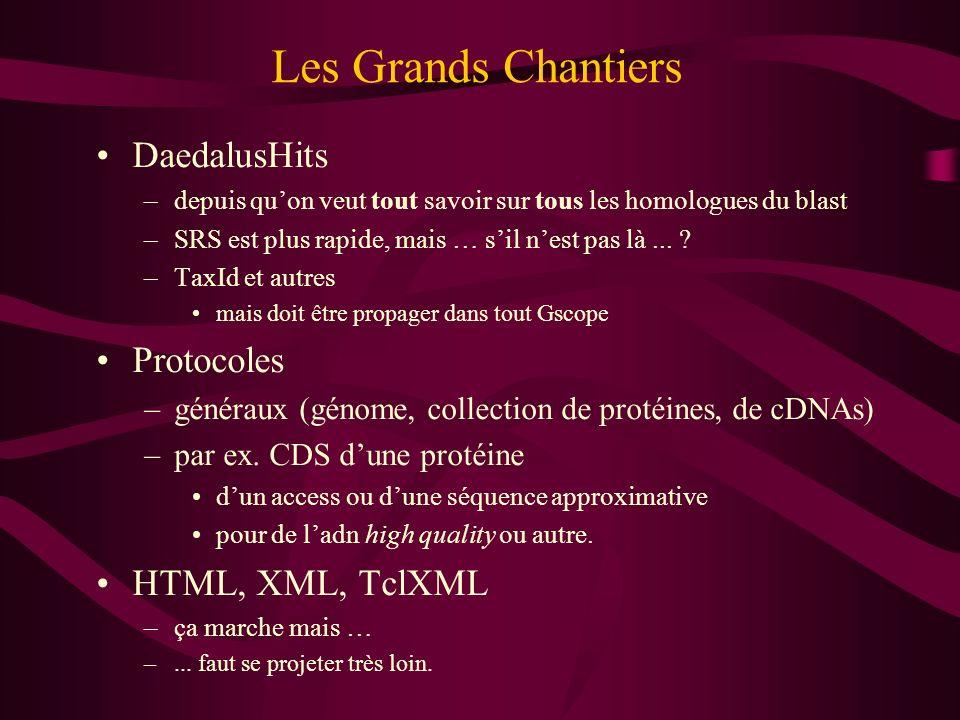 Les Grands Chantiers DaedalusHits –depuis quon veut tout savoir sur tous les homologues du blast –SRS est plus rapide, mais … sil nest pas là... ? –Ta