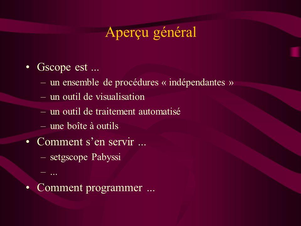 Environnement sous Unix setgscope Pabyssi version GrandPublic –/biolo/gscope/gscope.tcl –/biolo/gscope/*.tcl –/biolo/gscope/gscope_contrib/*/*.tcl setgscoperr Pabyssi version DeTravail –/home/ripp/gscope/gscope.tcl –/home/ripp/gscope/*.tcl –/home/*/gscopublic/*.tcl positionne les variables –tcsh $GSCOPEDIR (et tcl $GscopeDir ) –tcsh $REPERTOIREDUGENOME en tcl $RepertoireDuGenome...