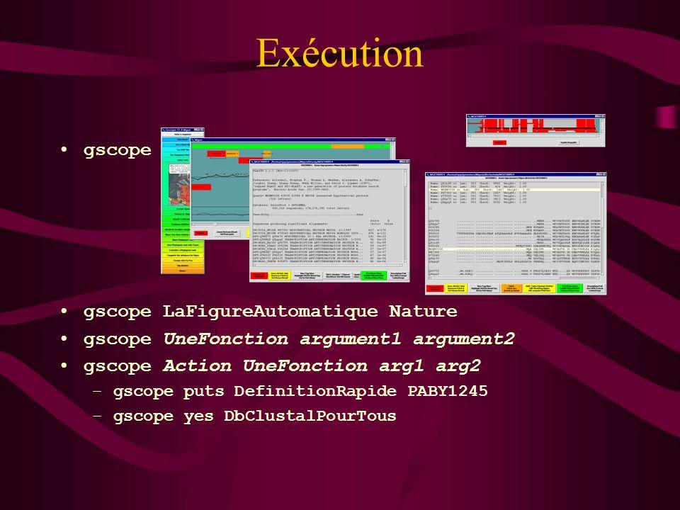 Exécution gscope LaFigureAutomatique Nature gscope UneFonction argument1 argument2 gscope Action UneFonction arg1 arg2 –gscope puts DefinitionRapide P